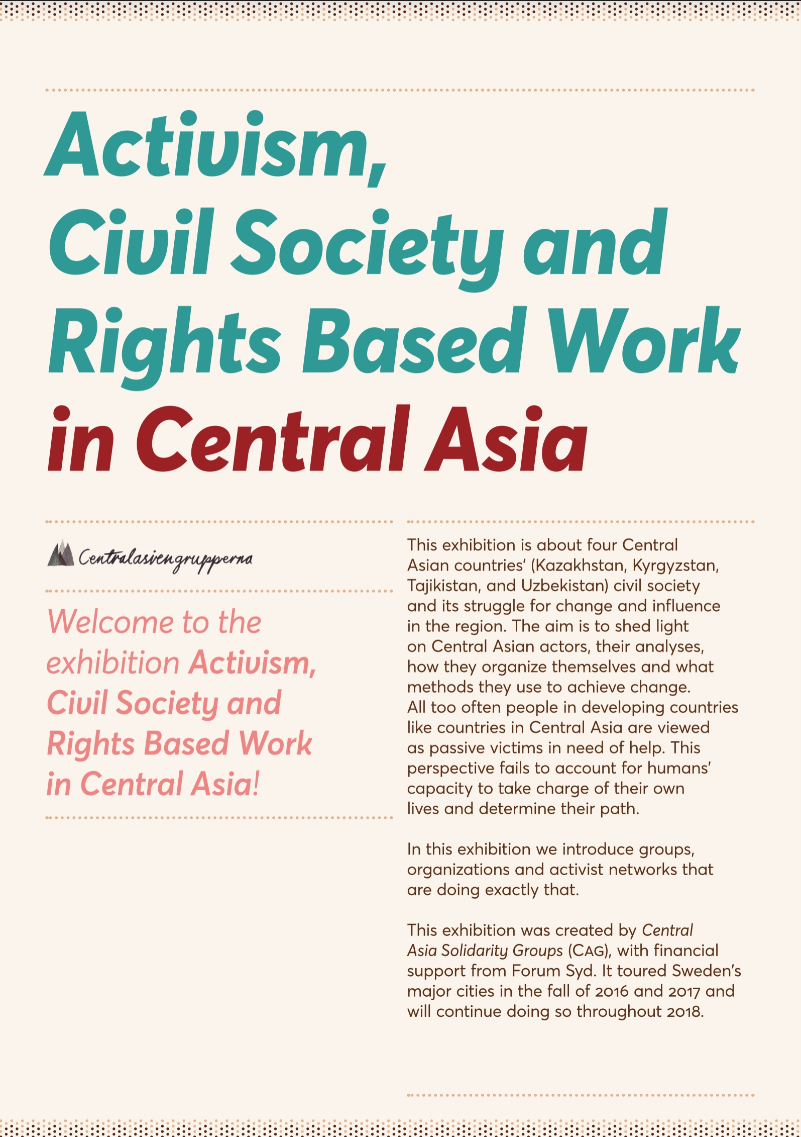 Activism, Civil Society and Rights Based Work in Central Asia