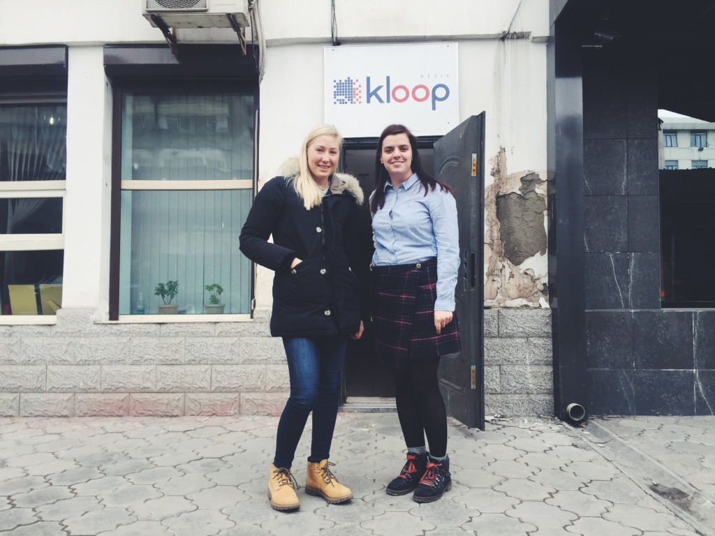 Emma and Anna outside of Kloop's office