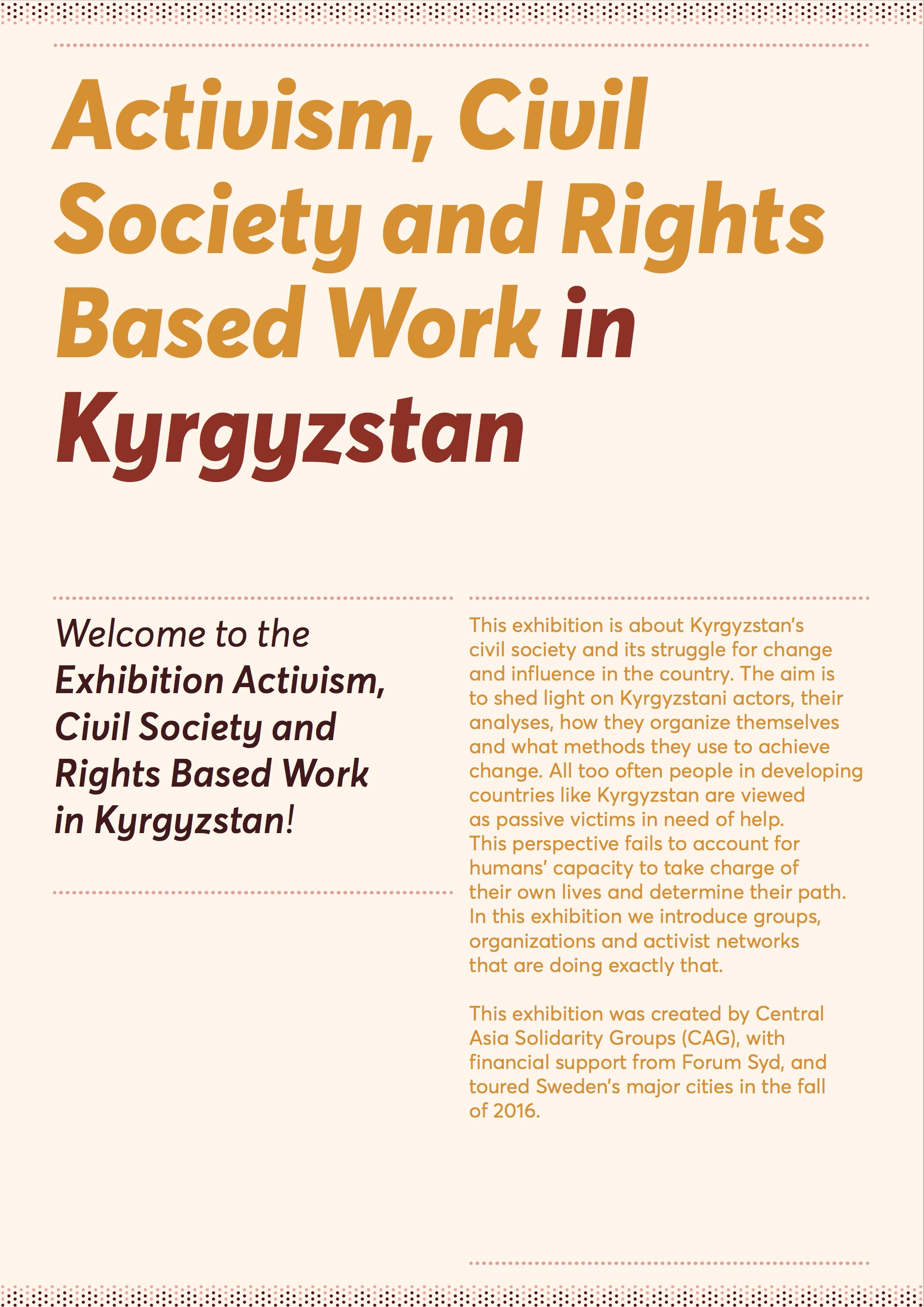 Activism, Civil Society and Rights Based Work in Kyrgyzstan