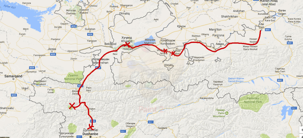 map osh to dunshanbe